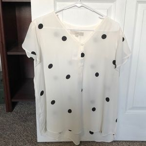 Loft Black And White Polka Dot Button Shirt